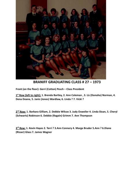 BRANIFF GRADUATING CLASS No.27 - 1973